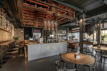Foto op Plexiglas koffiebar Interior of modern cafe in loft style