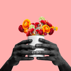 Hands of african-american man holding flowers on coral background. Copyspace for your proposal. Modern design. Contemporary artwork, collage. Concept of fashion, beauty, gift, spring, summer.