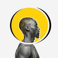 African-american man with head rounded yellow on white background. Copyspace for your proposal....