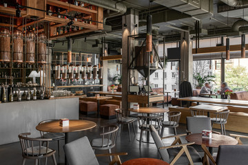 Interior of modern cafe in loft style