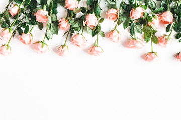 Poster Bloemen Flowers composition. Rose flowers on white background. Valentines day, mothers day, womens day concept. Flat lay, top view, copy space