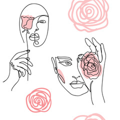 Girl, woman face, portrait, head with roses. Modern vector pattern for wrapping, textile, fabric, cloth.