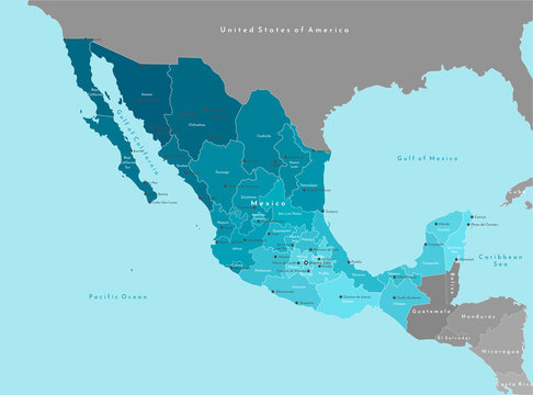 Vector illustration. Simplified geographical  map of Mexico (United Mexican States) and nearest countries (USA, Belize and etc). Blue background of Pacific ocean. Names of mexican cities and states