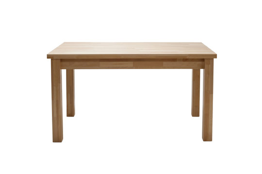 Wooden modern table isolated on white background. Kitchen dining table, front view.