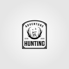 hunting adventure logo vintage vector illustration design