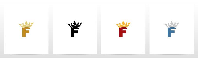 Royal Crown On Letter Logo Design F