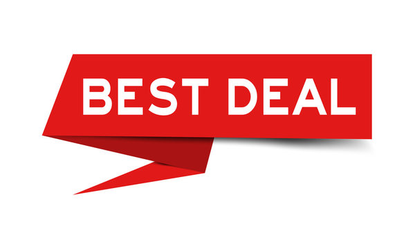Red color paper speech banner with word best deal on white background