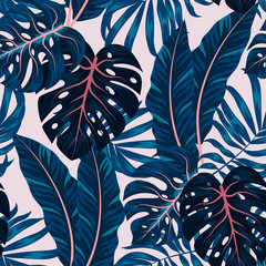 Tropical seamless pattern with colorful plants. Floral seamless vector tropical pattern background with exotic leaves, jungle leaf. Exotic wallpaper, Hawaiian style. Seamless vector texture.