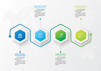 Fototapeta Abstract business infographics template with 4 hexagon in white color background obraz