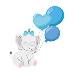 cute elephant with balloons helium isolated icon vector illustration design