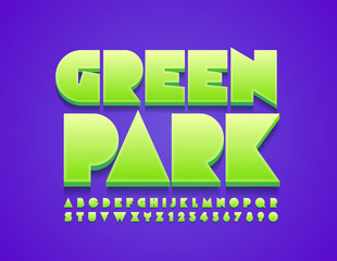 Vector stylish logo Green Park. Bright Green 3D Font. Artistic Alphabet Letters and Numbers.