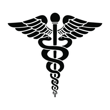 Caduceus - Medical Snake Logo Icon Vector Eps Isolated on White