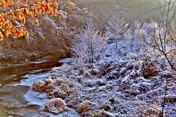 Door stickers Lavender frozen landscape along the river