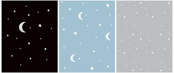 Custom blinds child's with your photo White Stars and Vector Illustration and Patterns. Irregular Hand Drawn Simple Starry Sky Print.Infantile Style Galaxy Design. Little Stars Isolated on a Gray, Blue and Black Background.