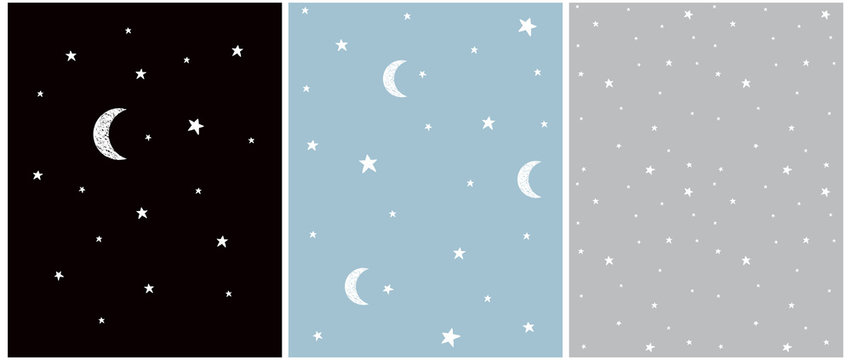 White Stars and Moon. Seamless Vector Patterns. Irregular Hand Drawn Simple Starry Sky Print.Infantile Style Galaxy Design. Little Stars Isolated on a Gray, Blue and Black Background.