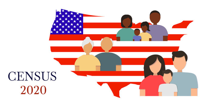 Silhouettes of men, women and children of different ages against the background of the American flag in the shape of a map of the United States of America. Isolated on white background.