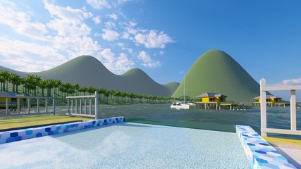 Bungalow resort on island, French Polynesia 3d rendering