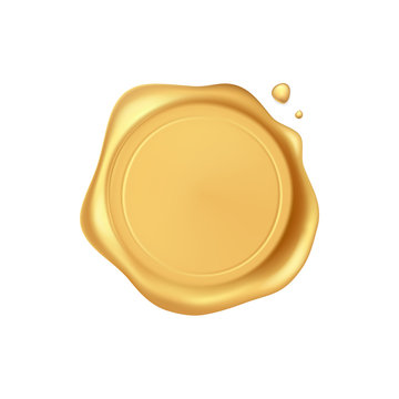 Wax seal. Gold stamp wax seal with drops isolated on white background. Realistic guaranteed golden stamps. Realistic 3d vector icon