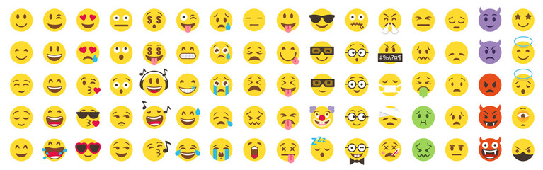 Vector Emoticon Big Set. Emoji pack. All face and hand emojis vector icons illustrations collection
