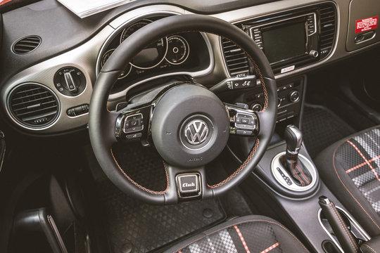 BERLIN - JUNE 05, 2016: Interior of compact car Beetle Cabriolet, 2016. Vintage toning. Classic Days Berlin 2016.