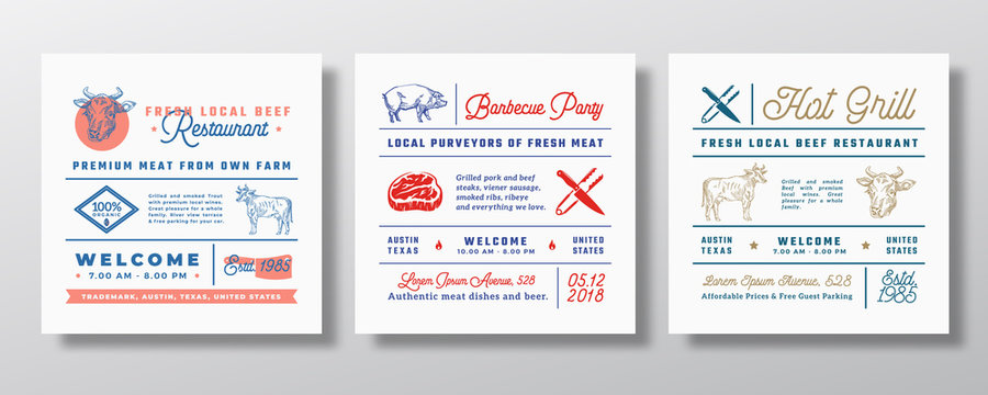 Pork Barbecue Grill Party or Beef Restaurant Signs, Titles or Menu Decoration Elements Set. Retro Typography Layouts Bundle with Hand Drawn Pig and Cow Illustrations. Vintage Label Templates.