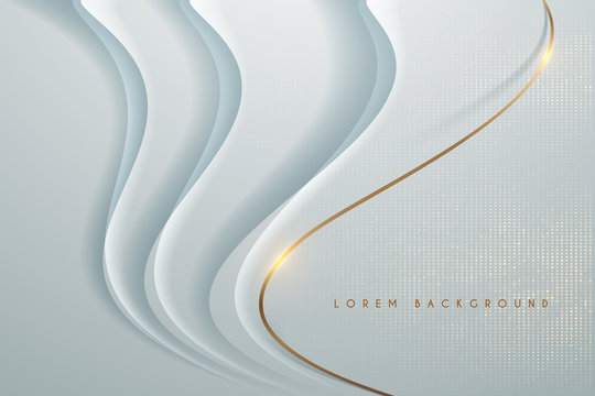 Abstract white background with gold line