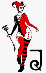 sexy joker girl in red and black colors