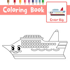Coloring page Cruise Ship cartoon character side view vector illustration