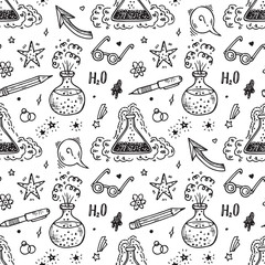 Endless Background with Education and science items. Hand Drawn Doodle Lab Chemistry flasks with bubbles and steam of chemical reaction - Vector Seamless Pattern