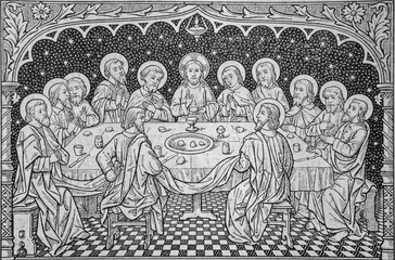 BRATISLAVA, SLOVAKIA, NOVEMBER - 11, 2010: The lithography of Last Supper in the old liturgical book from end of 19. cent.