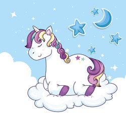 cute unicorn with stars and moon vector illustration design