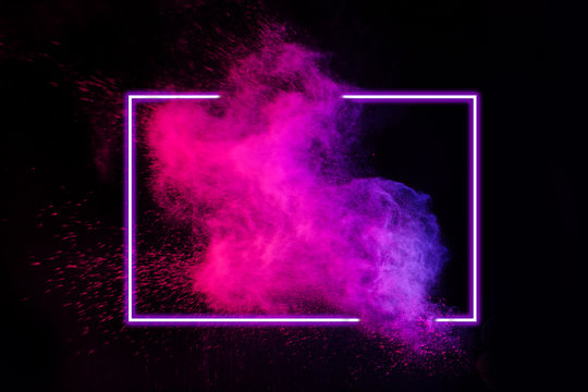 Abstract color splash with neon frame for wallpaper design. Colorful dust explode. Paint splash on white background