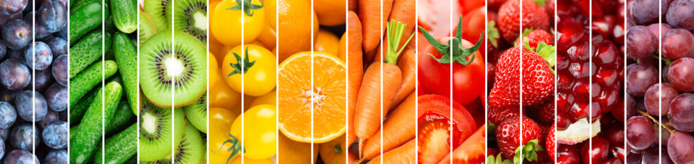 Fotorolgordijn Verse groenten Background of fruits and vegetables. Food rainbow