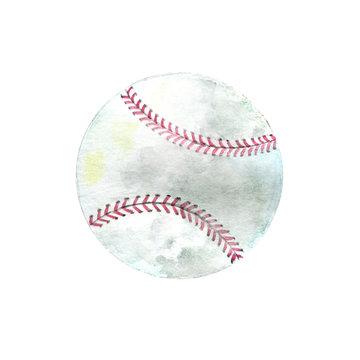 Watercolor hand drawn baseball