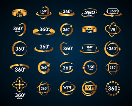 Gold 360 Degrees View Vector Icons set on black background. Virtual reality icons. Isolated vector illustrations. Golden Color version.