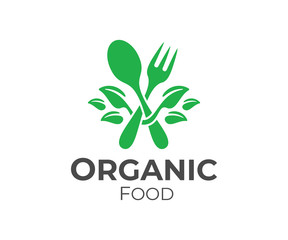 Organic food, fork and spoon with leaves, logo design. Restaurant, catering, bistro and fast food, vector design and illustration
