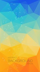 Vertical teal orange triangle background for your mobile design