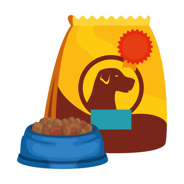 dish and bag for food dog isolated icon vector illustration design