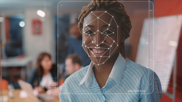 Face ID. Future Face Detection. Young Beautiful African Woman Office Worker is Identified by Biometric Facial Recognition Scanning Process. 3D Render Animation. Augmented Reality.