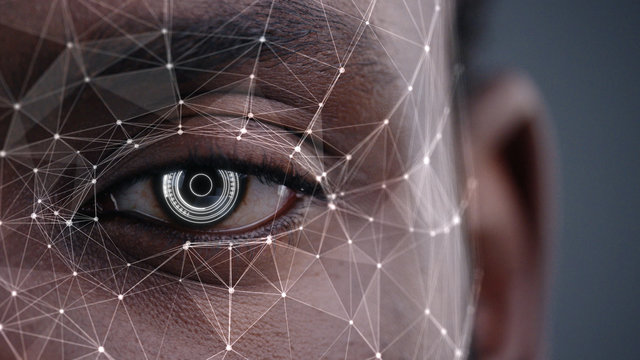 Human Half Face for Facial Recognition. African American Man Brown Eye Biometrical Iris Reading with Animated Dots and Lines. Augmented Reality. Futuristic Face ID. Science and Technology.