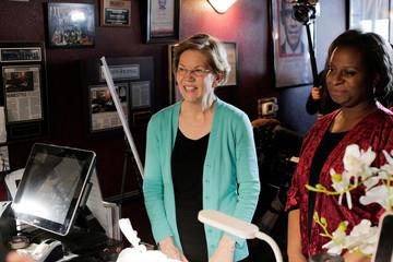 U.S. Democratic presidential candidate Senator Elizabeth Warren orders lunch with Allison Stevens, a DNC committeewoman from Nevada, at EllaEm's Soul Food in North Las Vegas