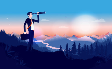Looking for a job - Businessman in suit outdoors using binocular to search for opportunities. Briefcase in hand and beautiful landscape. Looking for success, finding solutions concept. Illustration. - fototapety na wymiar