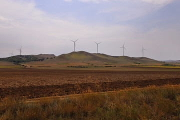 Wind farm at the Măcin Mountains in Romania