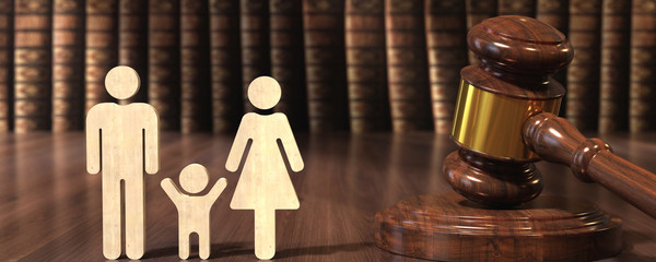 Wooden gavel and books - family law