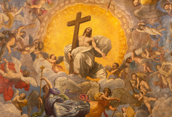 Wall Mural - RAVENNA, ITALY - JANUARY 28, 2020: The freco Glory of Resurected Jesus from the cupola of side  chapel in Duomo (cathedral) by Guido Reni (1575 - 1642).