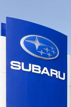 Tilst, Denmark - April 20, 2018: Subaru logo on a panel. Subaru is the automobile manufacturing division of Japanese transportation conglomerate Subaru Corporation
