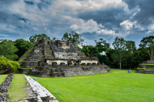 the ancient ruins of the Mayan city of Altun Ha in Belize, Central America