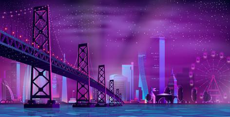 Modern night city cartoon vector urban background