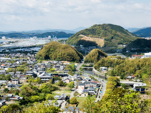Panoramic view of Kochi city suburbs from Zenjibuji, temple number 32 of Shikoku pilgrimage - Kochi prefecture, Japan