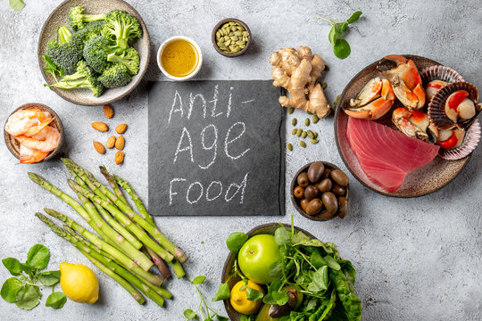 Anti Aging food concept. Clean eating, top view